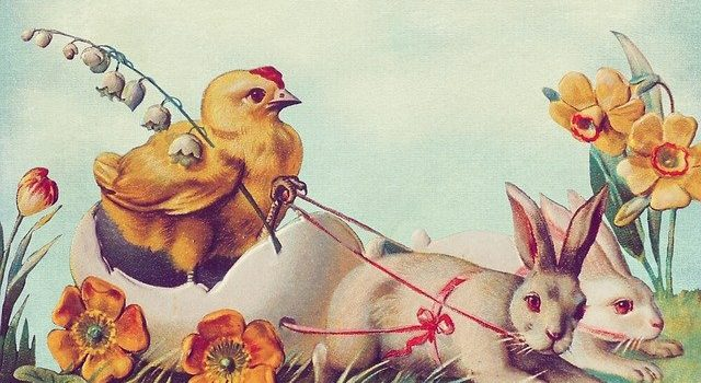 kartka wielkanocna -króliki i kurczak